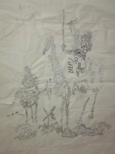 "Spanish language ""Don Quixote"" mural in progress"